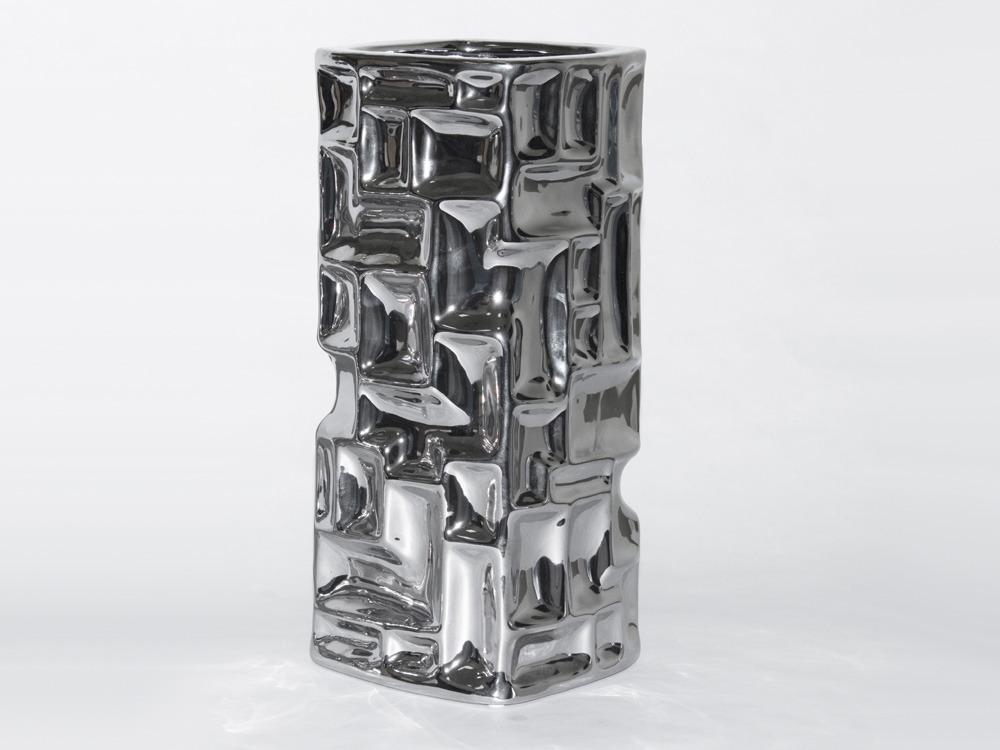 vase achille grand en c ramique couleur argent h 23cm 53759. Black Bedroom Furniture Sets. Home Design Ideas