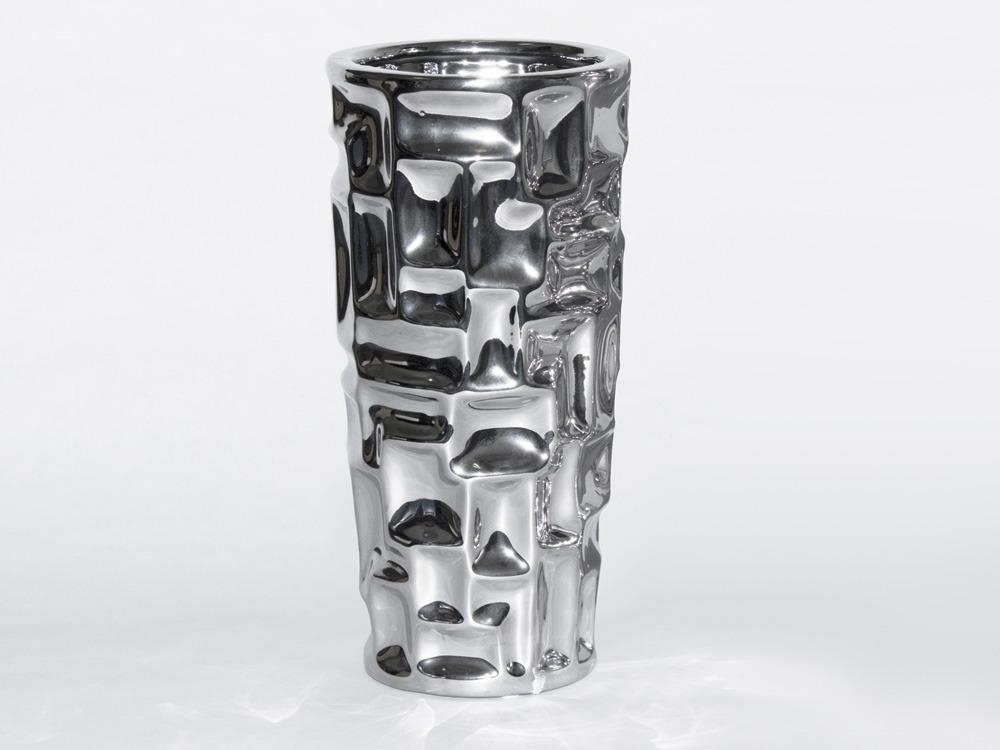 vase achille petit en c ramique couleur argent h 30cm 53760. Black Bedroom Furniture Sets. Home Design Ideas
