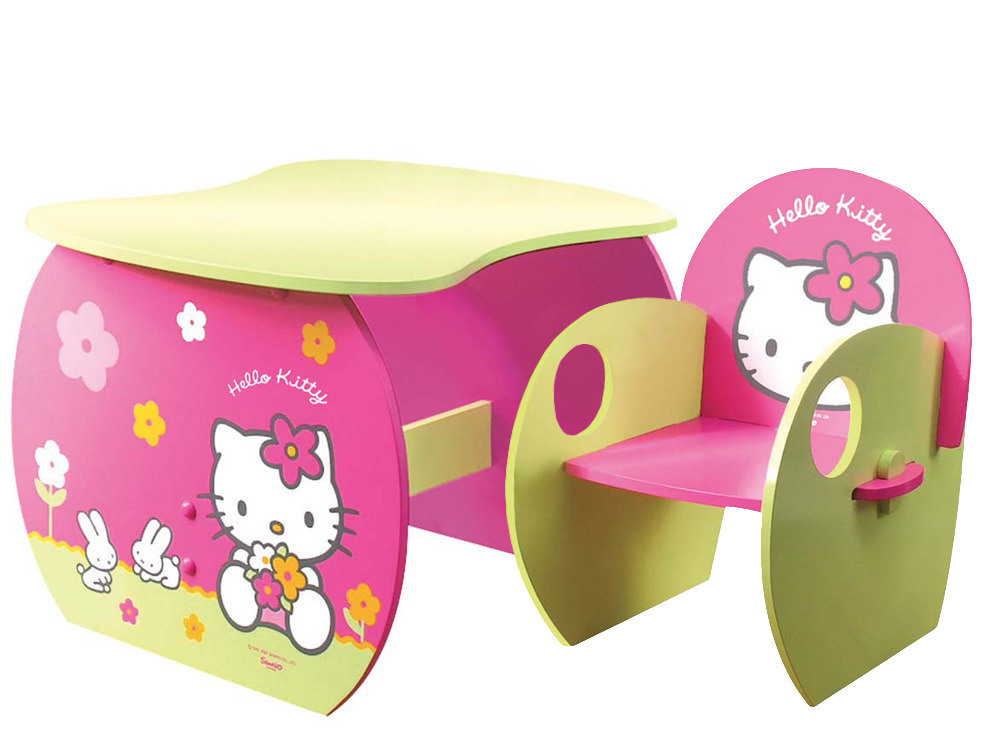 ensemble fauteuil table enfant en laqu hello kitty rose et vert 53496. Black Bedroom Furniture Sets. Home Design Ideas