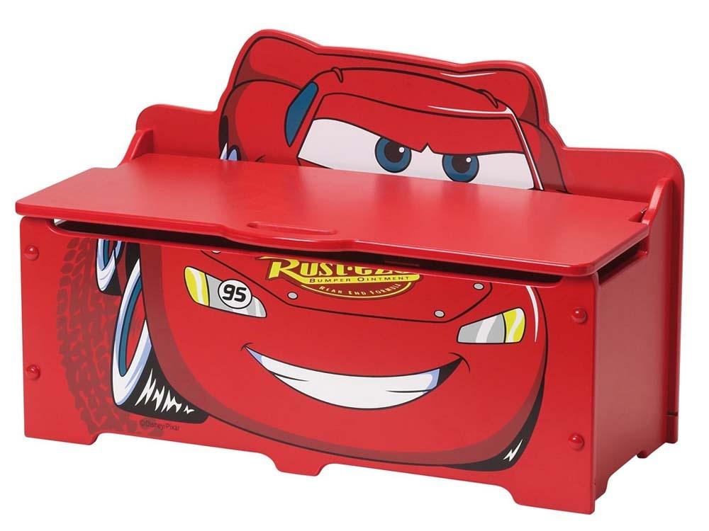 coffre jouets enfant petit modele avec frein en laqu cars rouge et noir 53467. Black Bedroom Furniture Sets. Home Design Ideas