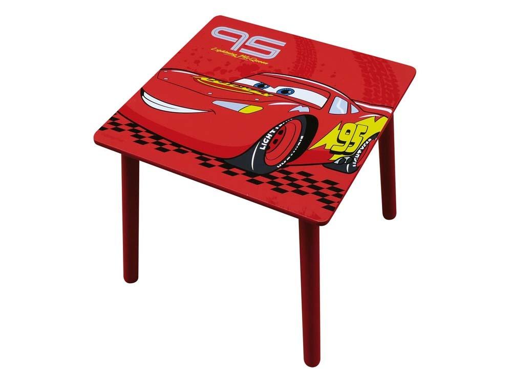 Table carr e enfant laqu cars rouge et noir 53451 for Table enfant rouge
