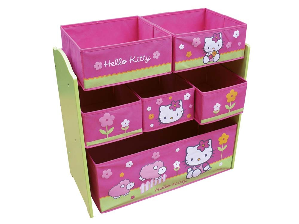 etag re avec bacs de rangement enfant en laqu hello kitty rose et vert 53481. Black Bedroom Furniture Sets. Home Design Ideas