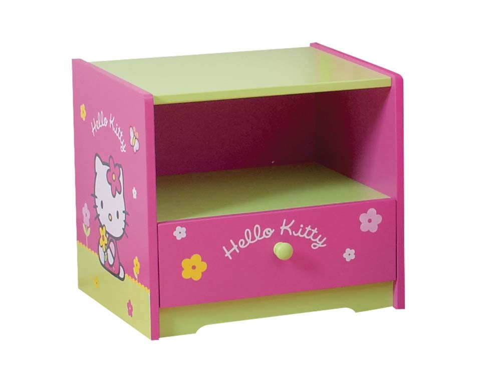 table de chevet enfant en laqu hello kitty rose et vert 53510. Black Bedroom Furniture Sets. Home Design Ideas