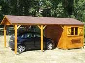 "Garage bois ""2 en 1"" - 18 m² - 3.03 x 6.03 x 2.65 m - 16mm"