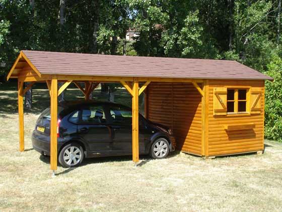 abri jardin bois 2 en 1 18 m 303 x 203 x 265 m 16 mm - Abri De Jardin Garage