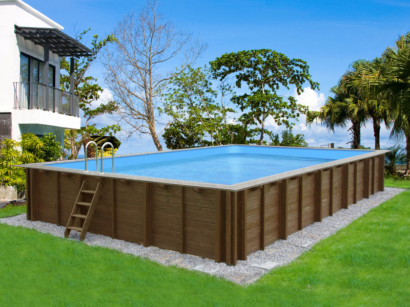 Piscine bois en kit rectangle bali x x 1 for Piscine bois jardin