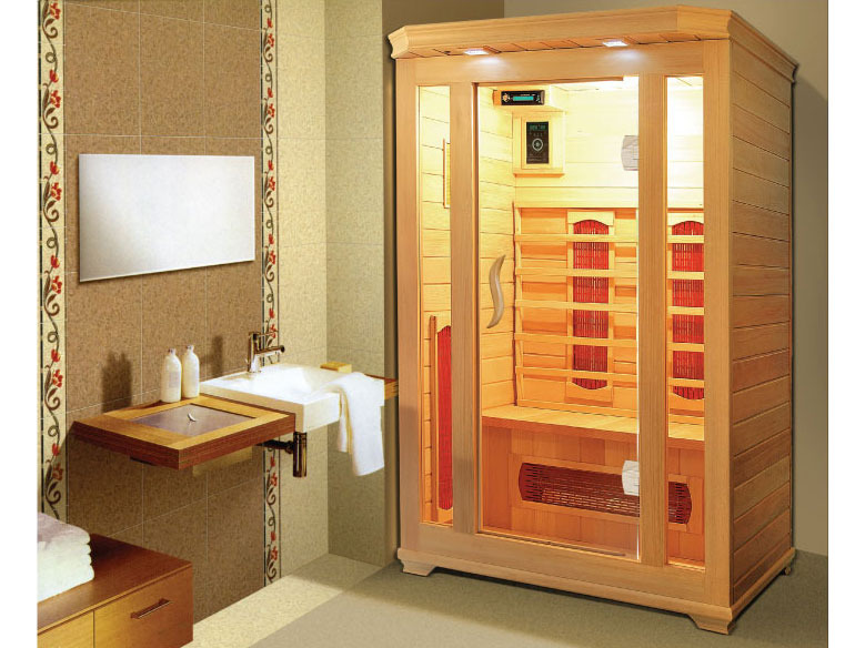 cabine de sauna infrarouge milla 2 places 120x120x190 53654. Black Bedroom Furniture Sets. Home Design Ideas