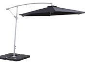 Parasol jardin d�port� en aluminium Ilios - Rond - � 3 m - Noir