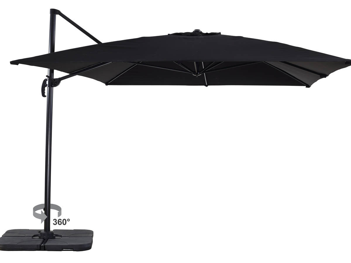 parasol jardin d port alu sun 4 rectangle 3 x 4 m noir 68250 68254. Black Bedroom Furniture Sets. Home Design Ideas
