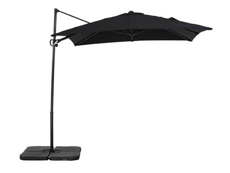 """Parasol jardin déporté Alu """"Sun 3"""" - Carré - 2.5 x 2.5 m - Noir"""