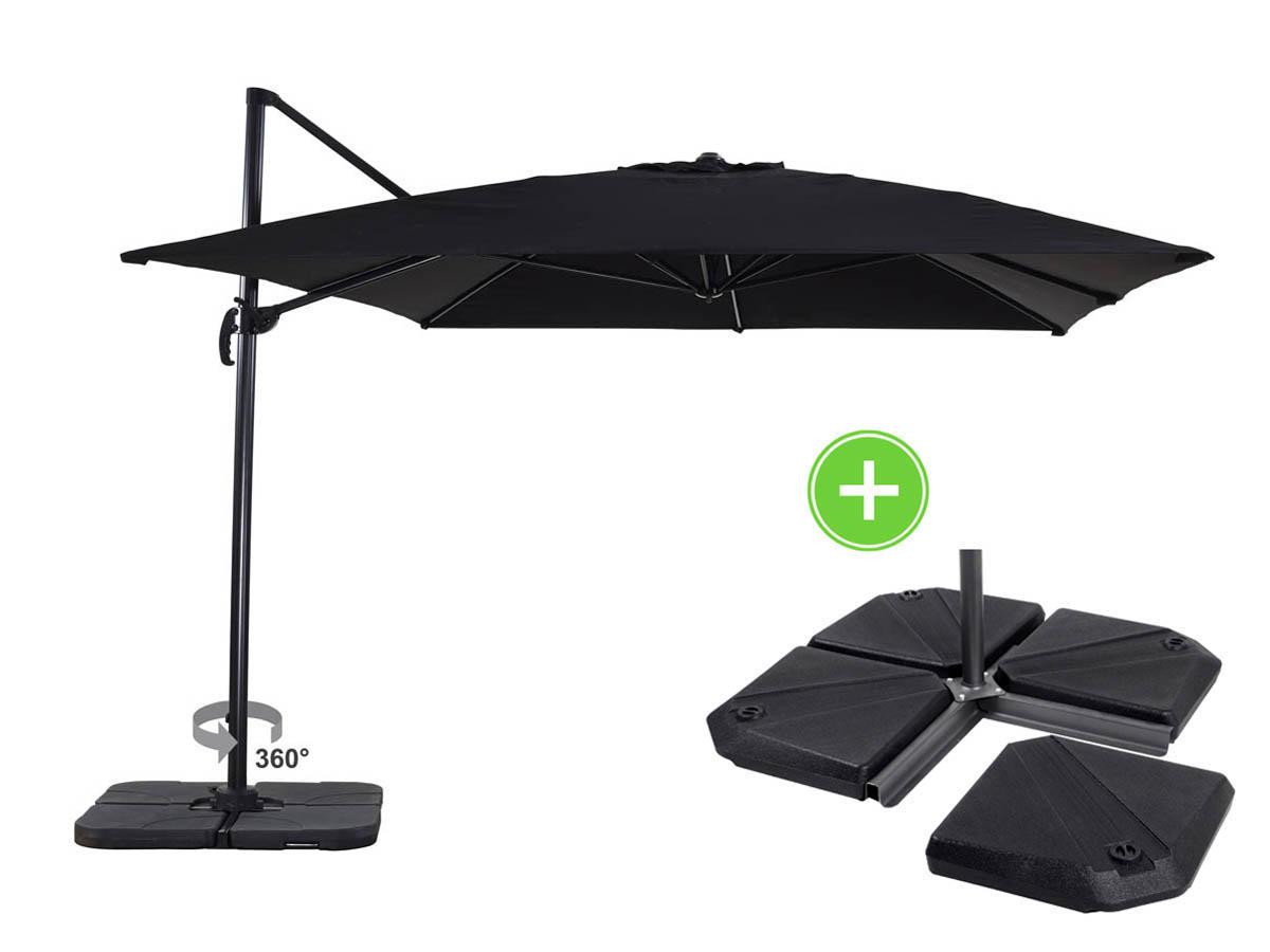 parasol jardin d port alu sun 4 rectangle 3 x 4 m noir dalles incluses 69133 69136. Black Bedroom Furniture Sets. Home Design Ideas