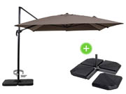 "Parasol jardin d�port� Alu ""Sun 4"" - Rectangle- 3 x 4 m - Taupe - Dalles incluses"