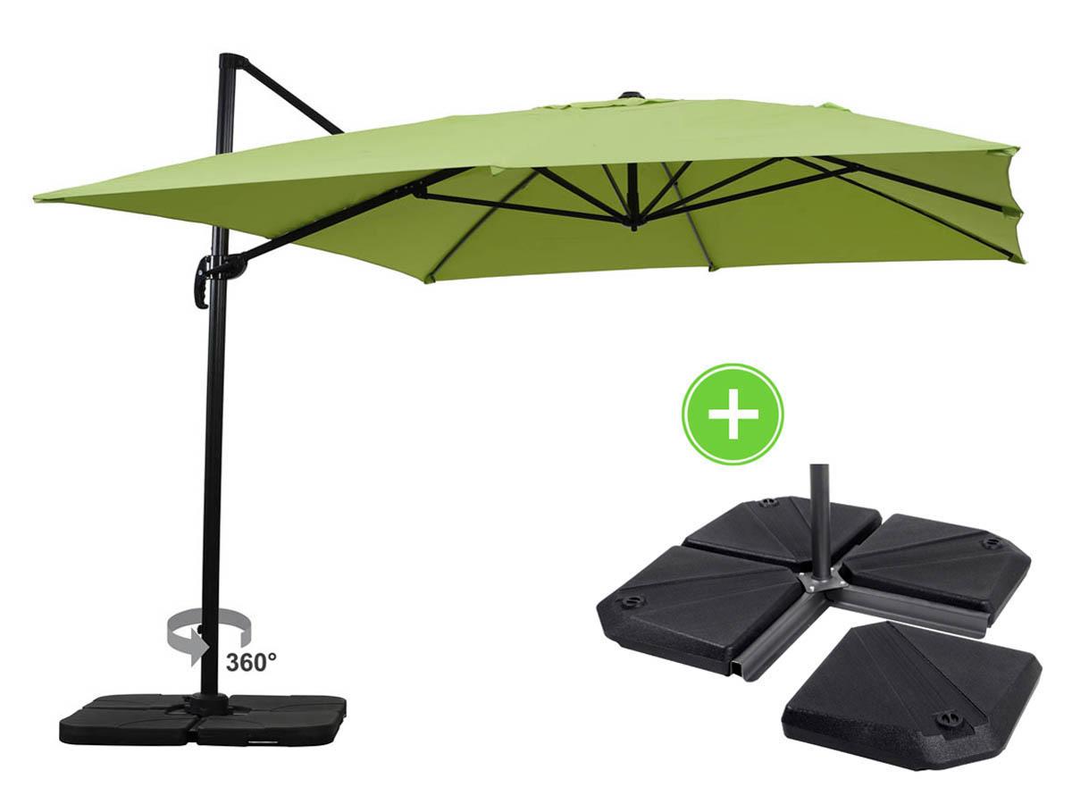 Parasol jardin d port alu sun 4 rectangle 3 x 4 m - Parasol deporte rectangulaire excentre inclinable ...