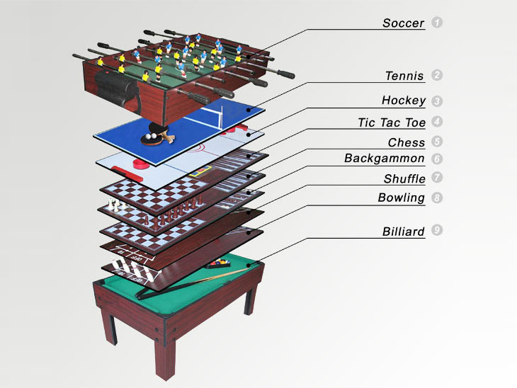 Table de jeux 9 en 1 billard bowling shuffle backgammon echec tic tac toe h - Table de jeux 5 en 1 ...