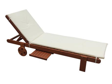 Coussin coloris ecru pour Bain de soleil en bois exotique