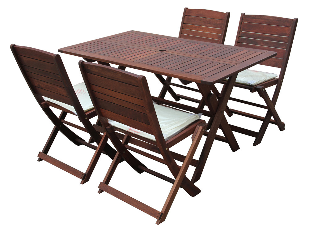 salon de jardin en bois exotique table pliante 135 x 80 x h74 cm 6 chaises pliantes 60621. Black Bedroom Furniture Sets. Home Design Ideas