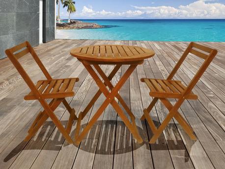 Salon de jardin en bois exotique Sydney - Table pliante Ø70 cm + 2 chaises pliantes