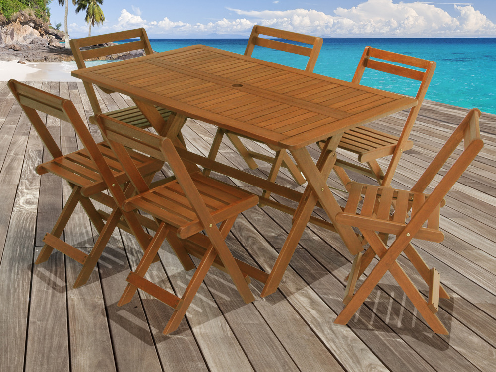 Salon de jardin en bois exotique Tropical Marron acajou Table pliante 135 x 80 x H74 cm + 6  # Table De Salon De Jardin En Bois