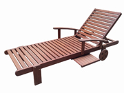 Bain de soleil en bois exotique Séoul -  Mahogany   - Marron acajou - avec roulette + 1 plateau