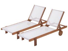 Lot de 2 bains de soleil en bois exotique Saïgon -