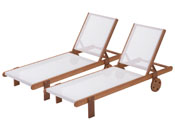 """Lot de 2 bains de soleil en bois exotique Saïgon - """"Maple"""" - Marron clair"""