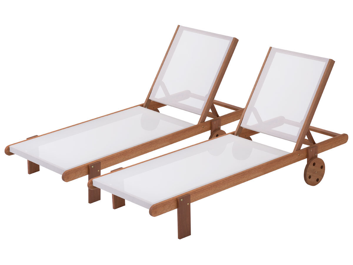 bain de soleil en bois exotique sa gon maple ecru lot de 2 69359. Black Bedroom Furniture Sets. Home Design Ideas