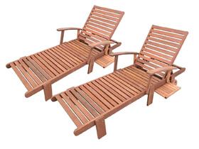 Bain de soleil pliant en bois exotique Tokyo - lot de 2 + 2 coussins