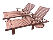 Bain de soleil pliant en bois exotique Tokyo - Mahogany- Marron acajou - lot de 2