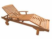 """Bain de soleil pliant en bois exotique Singapour - """"Maple"""" - Marron clair"""
