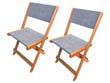 """Chaise pliante en bois exotique """"Seoul"""" - Maple - Gris - Lot de 2"""