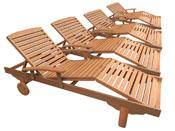 """Lot de 4 bains de soleil pliant en bois exotique Singapour - """"Maple"""" - Marron clair"""