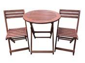 """Salon de jardin en bois exotique Sydney - """"Mahogany"""" - Marron acajou - table pliante Ø70 cm + 2 chaises pliantes"""