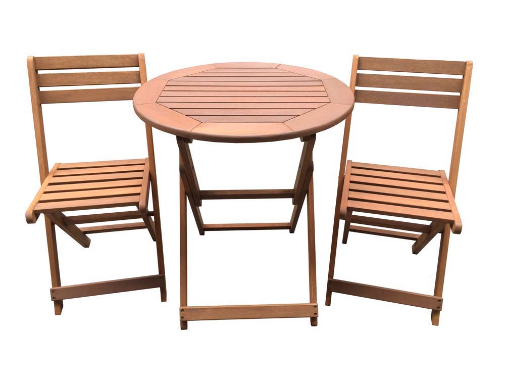 Salon De Jardin En Bois Exotique Sydney Maple Marron Clair Table Pliante 70 Cm 2