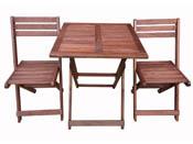 """Salon de jardin en bois exotique Hanoï - """"Mahogany"""" - Marron acajou- Table pliante carrée 60 x 60 x 74 cm + 2 chaises pliantes"""