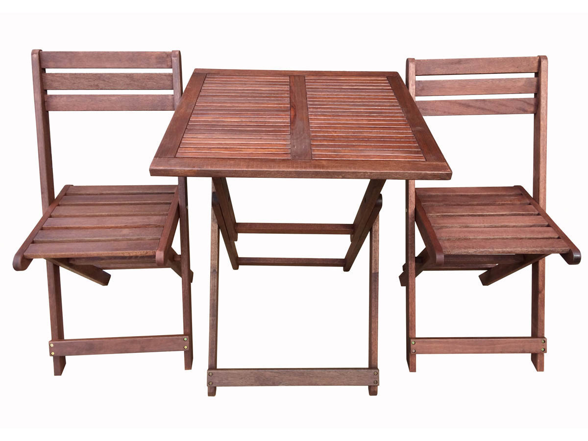 Salon de jardin en bois exotique hano mahogany marron acajou table pliante carr e 60 x - Table de salon pliante ...