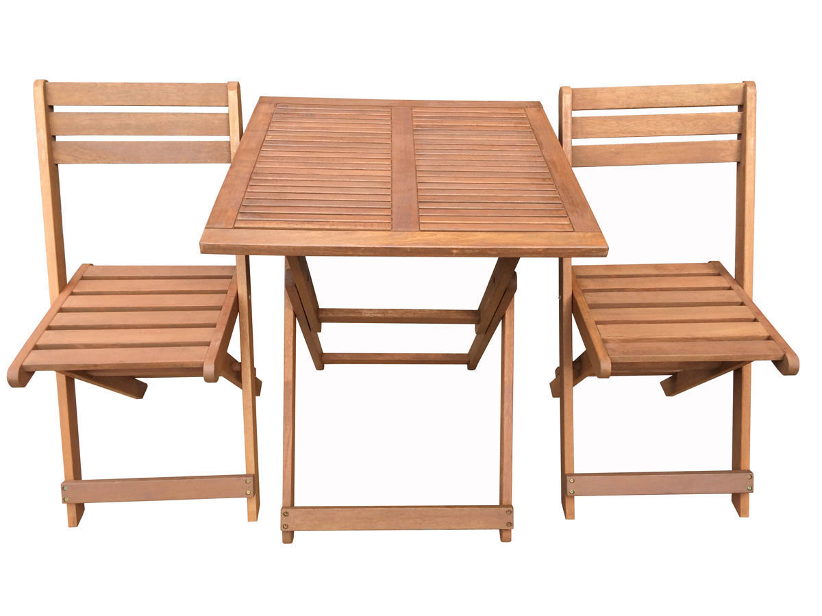 Salon de jardin en bois exotique hano maple marron for Table carree et chaises