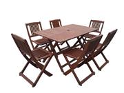 Salon de jardin bois exotique  Hongkong  - Table pliante  + 6 chaises pliantes