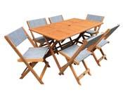 """Salon de jardin repas """"Séoul"""" - 1 Table + 6 chaises - Maple - Gris"""