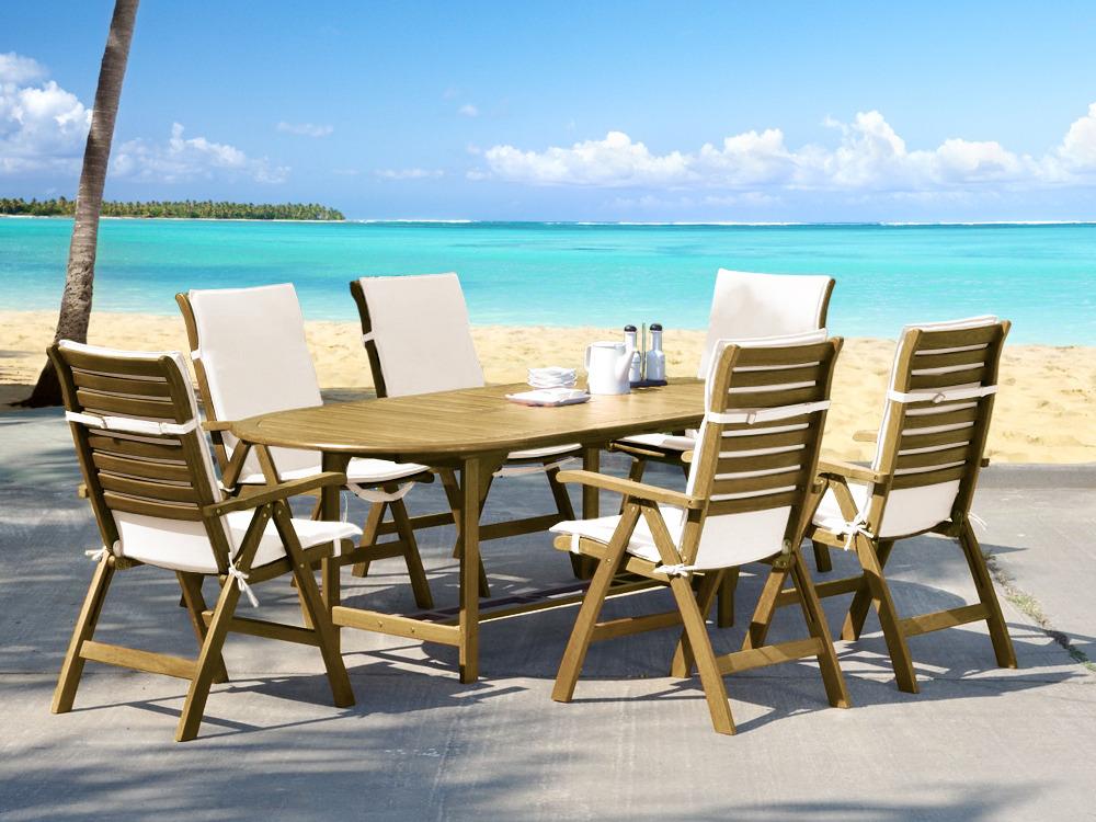 Salon de jardin ottawa en eucalyptus table 220 150 x 95 x 74 cm 6 chaises 5 positions avec - Salon de jardin eucalyptus ...