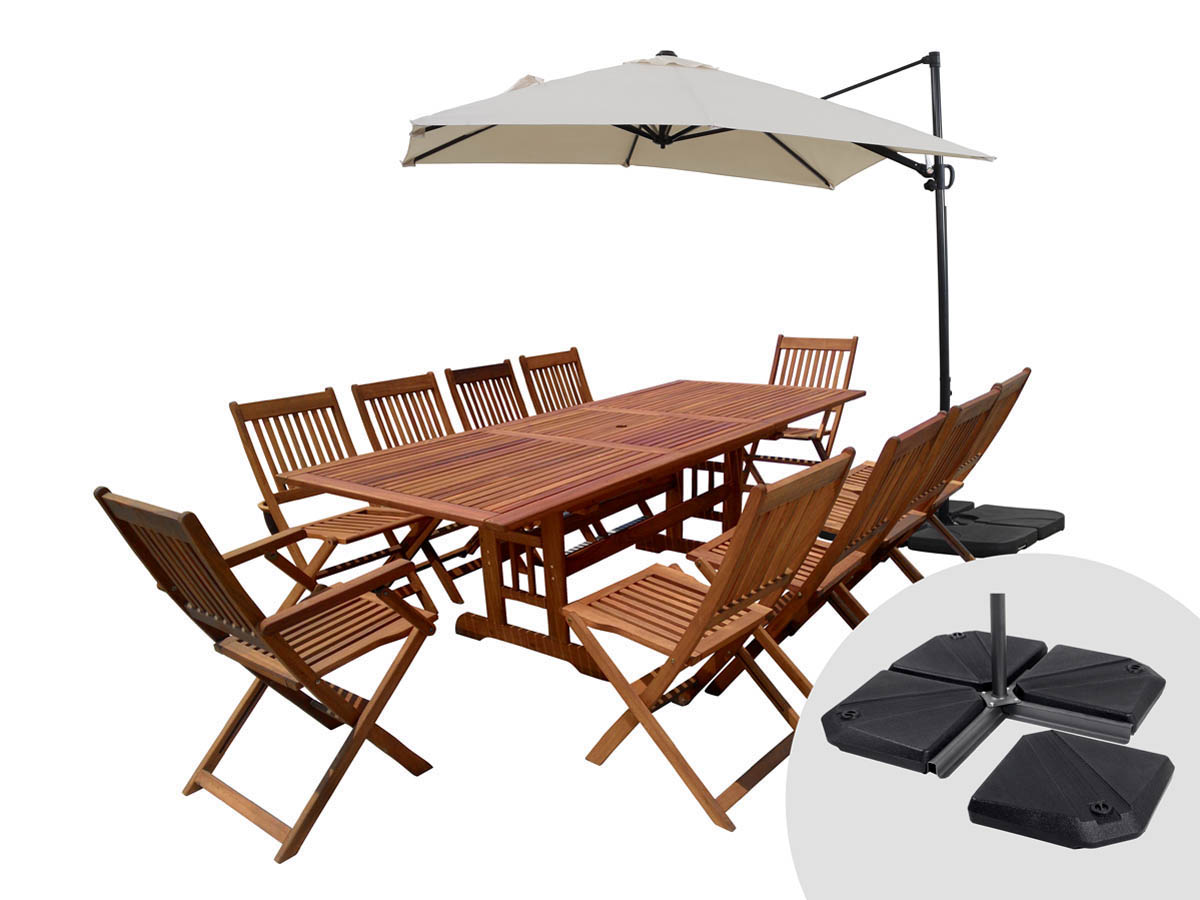 salon de jardin en bois exotique osaka bali 1 table extensible 10 places parasol. Black Bedroom Furniture Sets. Home Design Ideas