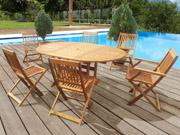 """Salon de jardin en bois exotique Taipei - """"Bali"""" - 1 table extensible 120/180cm  + 2 fauteuils + 4 chaises"""