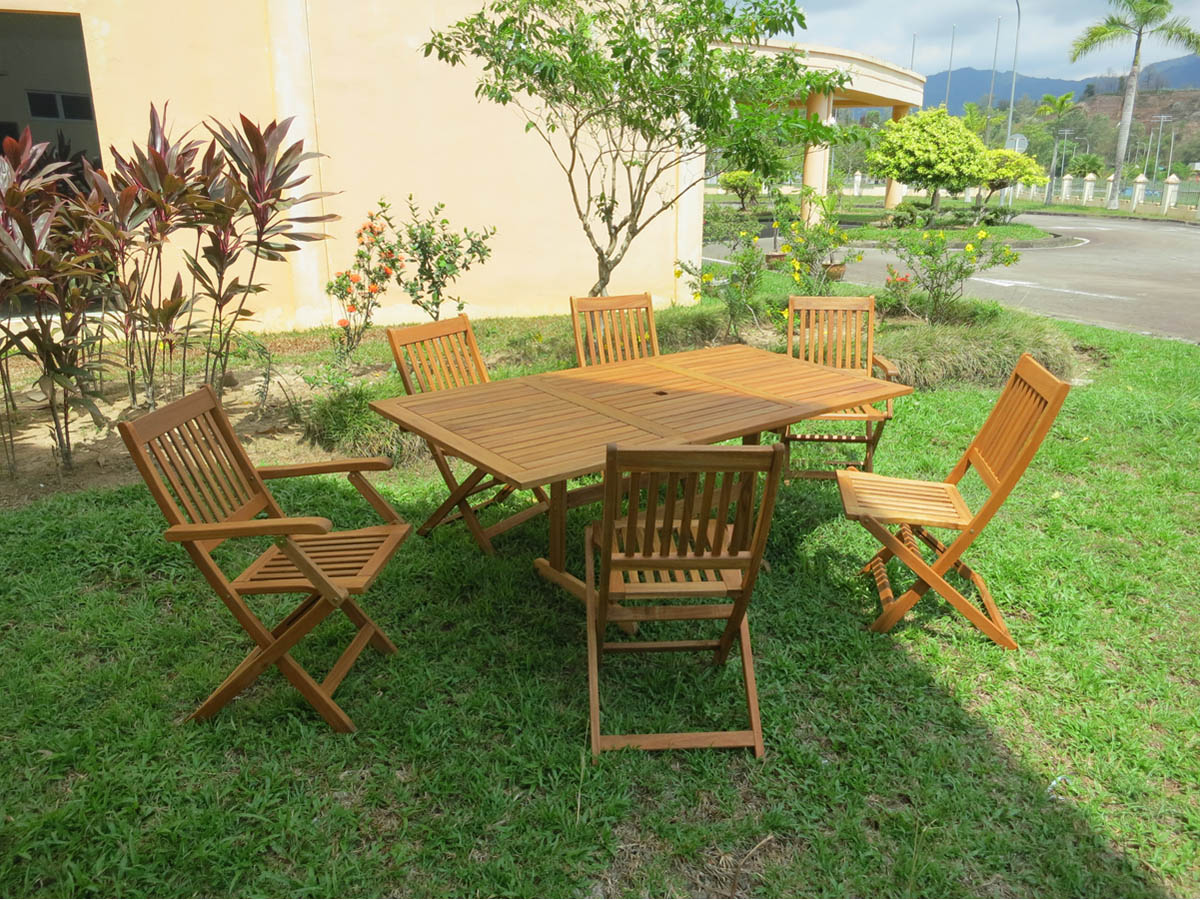 salon de jardin en bois exotique osaka bali table extensible 68276. Black Bedroom Furniture Sets. Home Design Ideas