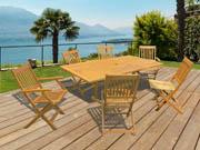 """Salon de jardin en bois exotique Osaka - """"Bali""""  - 1 table extensible 120/180cm + 2 fauteuils + 4 chaises"""