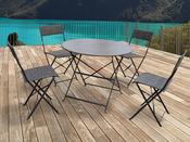 Salon de jardin Chico métal taupe - 1 table et 4 chaises