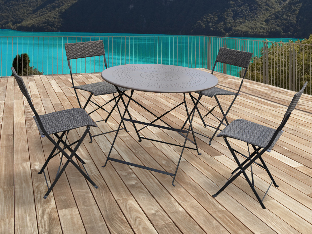Salon de jardin chico m tal taupe 1 table et 4 chaises 54417 for Peinture table de jardin metal