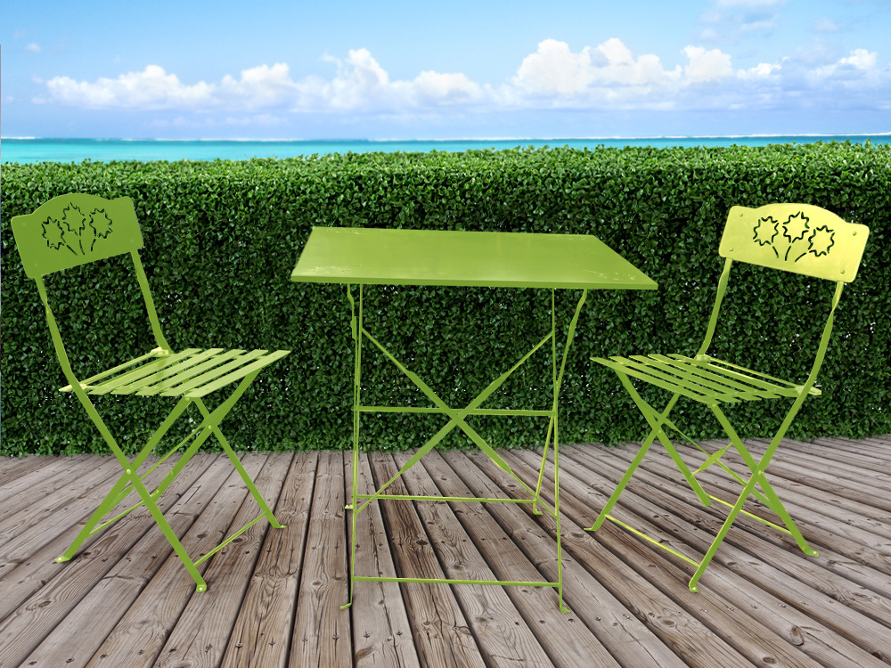 Salon de jardin romantic m tal 1 table et 2 chaises for Chaise salon de jardin aluminium