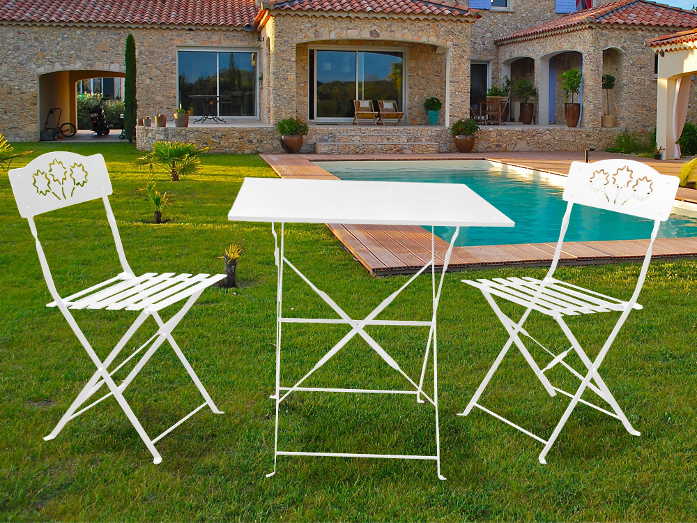 Salon de jardin romantic m tal 1 table et 2 chaises 54411 for Peinture table de jardin metal