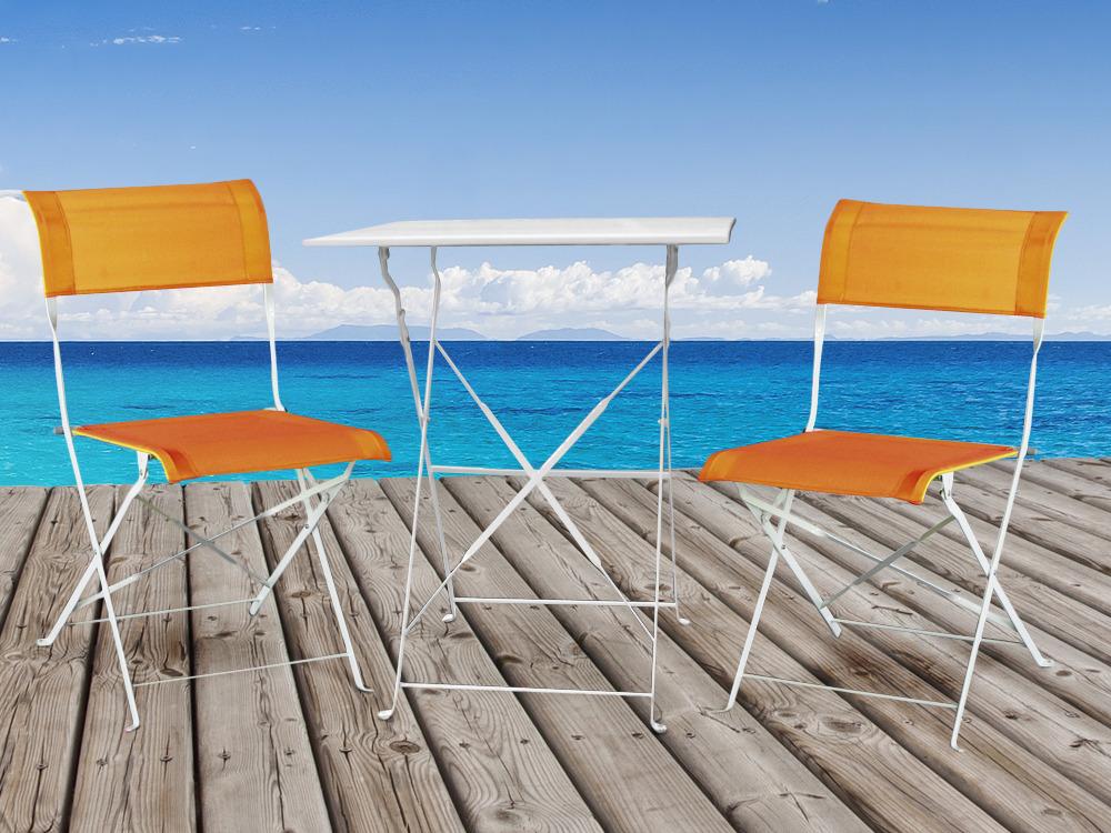 Peinture Table De Jardin Metal Of Salon De Jardin Deco M Tal Coloris Blanc Et Orange 1