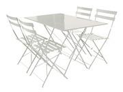 Salon de jardin Coco m�tal blanc - 1 table pliante et 4 chaises
