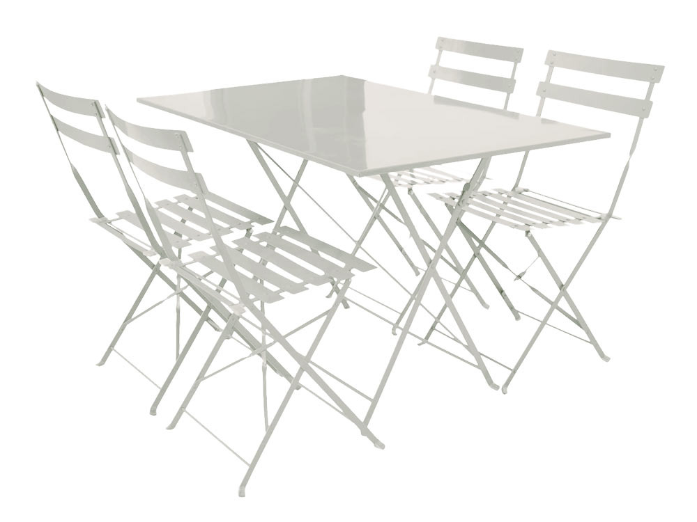 salon de jardin coco m tal blanc 1 table pliante et 4 chaises 54418. Black Bedroom Furniture Sets. Home Design Ideas